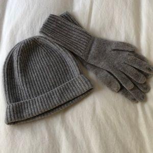 Gap Grey Cashmere Beanie and Gloves